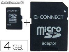Memoria sd micro q-connect flash 4 GB clase 4 con adaptador
