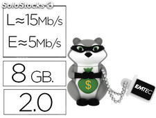 Memoria usb emtec flash 8 GB 2.0 animals mapache