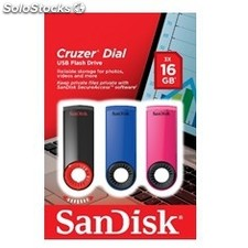 Memoria usb sandisk 16GB cruzer dial flash drive pack 3