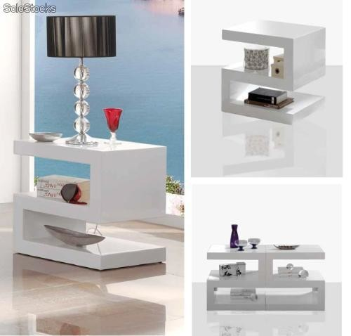 Mesa auxiliar blanco z 25 20 for Mesas salon plegables diseno
