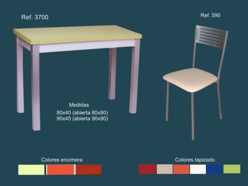 Mesa cocina madera extensible color y 2 sillas metalicas