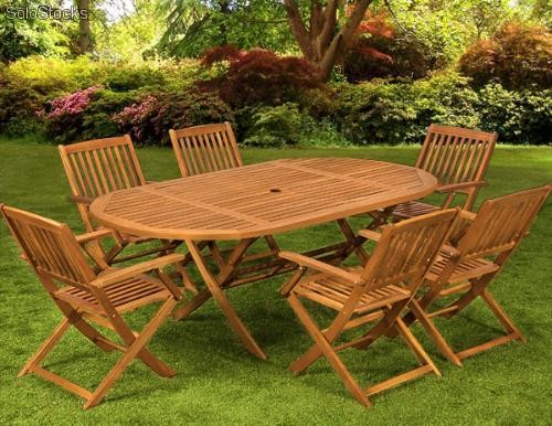 Mesa con 6 sillas mueble de madera para tu jardin patio for Mesa con sillas dentro
