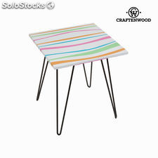 Mesa cuadrada rayas colores by Craftenwood
