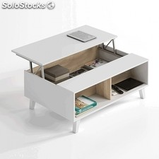 Mesa de centro elevable Zaiken Plus - Color - Blanco - Roble Canadian