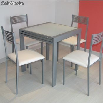 Mesa de Cocina Extensible Lagos con 2 sillas Estoril y 2 taburetes Estoril