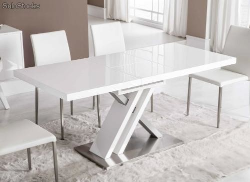 Mesa de comedor blanco extensible dt 16 for Comedor ovalado extensible