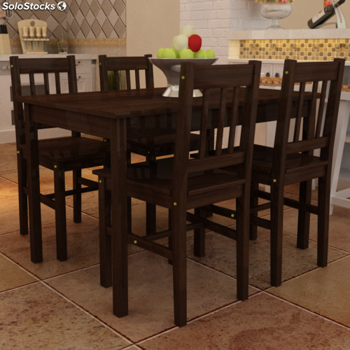 Mesa de comedor con 4 sillas de madera color marr n for Sillas comedor marron chocolate