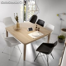 de comedor extensible cuadrada natural roble 80-130x130