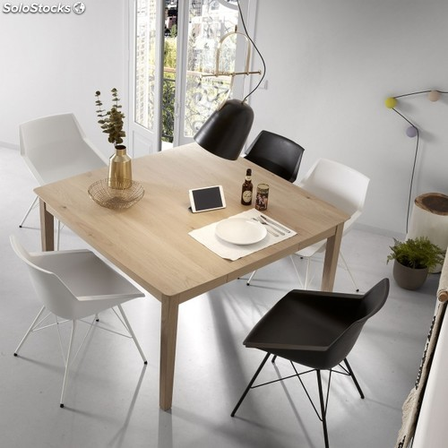 Mesa de comedor extensible cuadrada natural roble 80-130x130