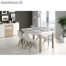 Mesa de comedor extensible en roble blanco y roble natural de ...