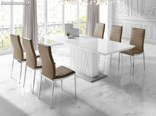 Mesa de comedor extensible lacado blanco 160 220x90 imperium for Mesas de salon blancas