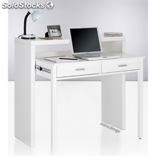 Mesa de ordenador escritorio extensible color blanco brillo de oficina despacho
