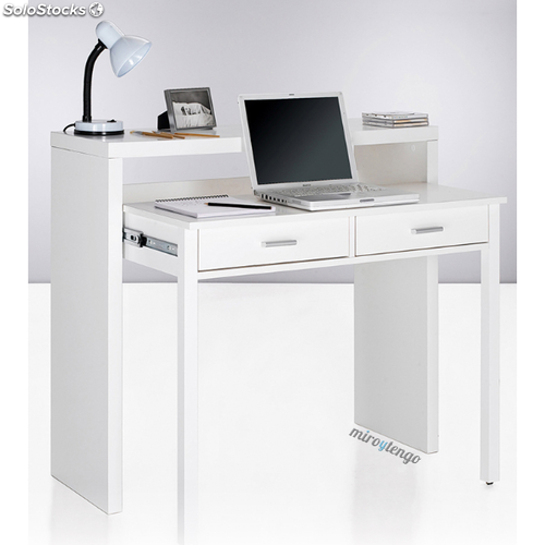 Mesa de ordenador escritorio extensible color blanco brillo de ...