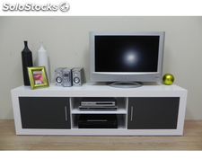 Mesa de TV mueble multimedia de salon comedor 180cm color blanco y grafito