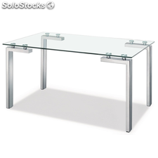 Mesa DECOR_LAINEY con base en acero inoxidable y mesa de cristal,