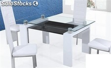 Mesa GIBRALTAR-CO, cristal, lacado color blanco, 150x90 cms
