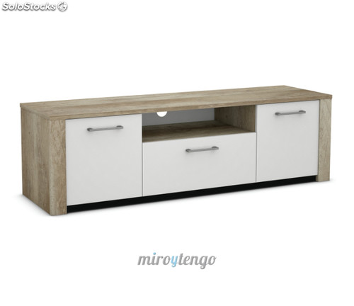 Mesa mueble tv multimedia color roble y blanco de 3 for Mueble blanco y roble