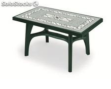 Mesa resina jardin Rectango Contract deco-verde