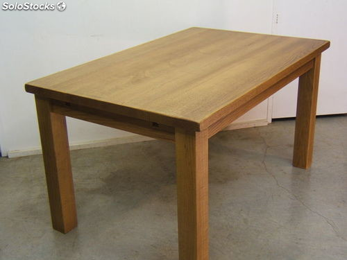 Mesa rustica de madera de roble for Mesa bar de madera