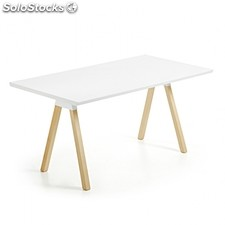 Mesa Stick - Color - Blanco y madera, Medidas - 90x220