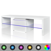 Mesita para TV color blanco brillante con luces LED, 150 cm