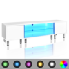 Mesita para TV color blanco brillante con luces LED, 160 cm