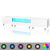 Mesita para TV color blanco brillante con luces LED, 200 cm