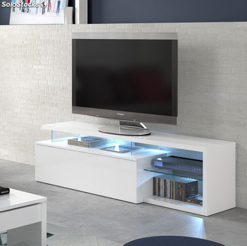 meuble tv blue tech avec led blanc. Black Bedroom Furniture Sets. Home Design Ideas