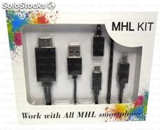 Mhl kit micro usb 5 pin + 11 pin to hdmi cable for samsung
