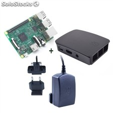 Micro pc raspberry Pi 3 modelo b Quad Core 1.2GHz 1GB + caja + fuente 5.1V negro