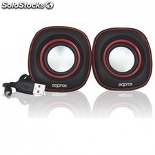 Mini altavoces USB APPROX appspx2r - 6w - 90hz-20khz - salida audio mini jack