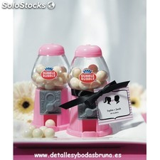 Mini Dispensador de Chicles Rosa. Mini maquinas de chicle boda, comunion