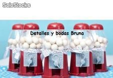Mini Dispensadores de Chicles Rojo vacíos. Detalles boda candy buffet