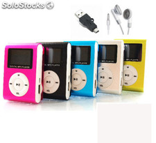 Mini MP3 clip con pantalla y radio FM, varios colores