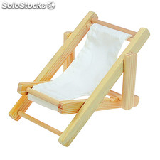 Mobile Phone Holder Canvas Chair , Natural/White