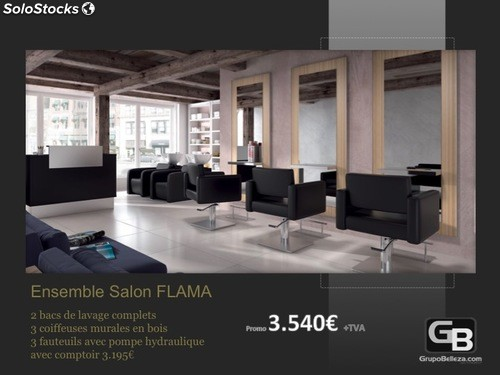 mobilier salon de coiffure salon complet flama promo. Black Bedroom Furniture Sets. Home Design Ideas