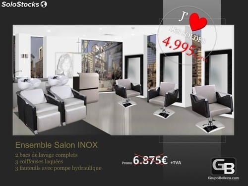 mobilier salon de coiffure salon complet inox promo 4. Black Bedroom Furniture Sets. Home Design Ideas