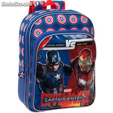 Mochila Capitan America Civil War Marvel Versus adapatable doble bolsillo grande