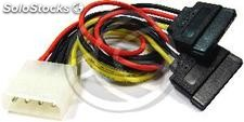 Molex Power Cable 4P-m (5.25) > 2 x 15P-h (sata) y (CA18)