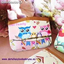 Monedero Buhos Happy. Monederos baratos para boda, comuniones