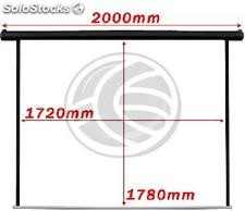 Motorized projection screen black wall fiberglass DisplayMATIC PRO 1:1