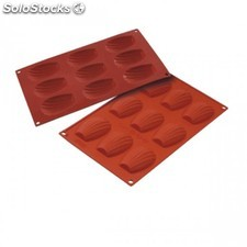 "Moule de silicone ""bake flex"" - madeleine 17,5x30 cm rouge silicone"