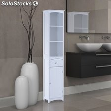 Mueble Armario Multiusos - Color blanco - Madera - 34 x 24 x 170cm