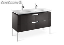 Mueble base y lavabo doble Roca Kalahari 120 crema lacado brillo