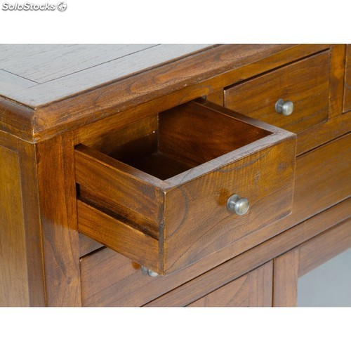 Mueble consola madera 4 cajones color nogal n347534 for Muebles de madera color nogal