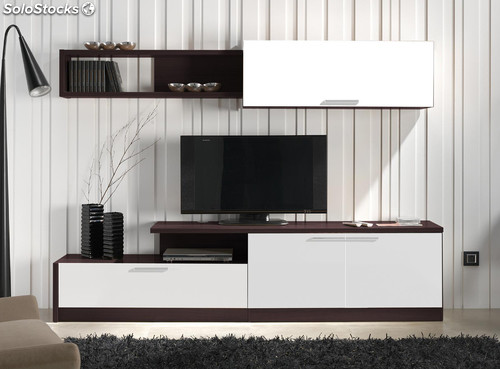 Mueble De Sal N Comedor Color Wengu Y Blanco Conjunto Modular Tv Multimedia