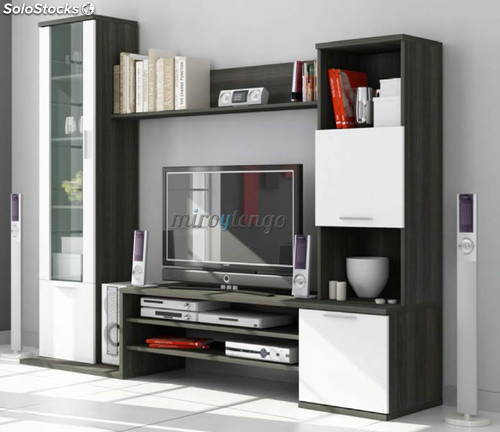Mueble de salon comedor tv modular color gris ceniza y for Muebles de salon color blanco