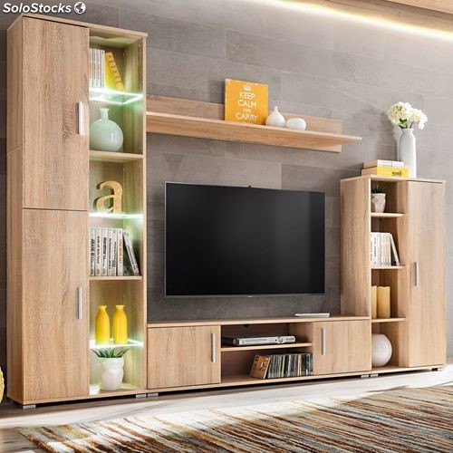 Mueble De Salon De Pared Para Tv Con Luces Led Roble Sonoma