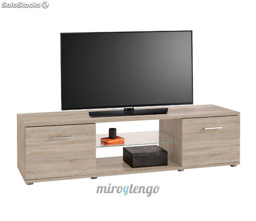 Mueble mesa de tv multimedia color roble 151cm con cristal for Mueble tv multimedia