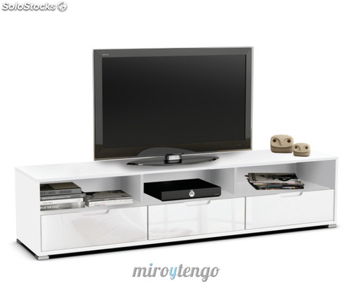 Mueble mesa tv multimedia color blanco perla con 3 cajones for Mueble tv multimedia